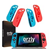 Orzly FlexiCase 4-Pack for Switch Joy-Cons - Pack of 2x RED & 2x BLUE Protective Case Covers [Lightweight, Durable Flexible Rubberised Skins] for Left & Right Nintendo Switch Joy-Con Controllers