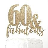 NANASUKO 60th Birthday Cake Topper - 60 & fabulous - Premium quality Made in USA