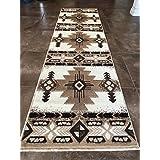 Southwest Native American Area Rug Ivory Design #C318 (2ft.x7ft.)