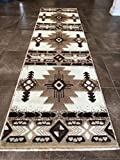 Southwest Native American Runner Area Rug Ivory Design C318 (2 Feet X 7 Feet )