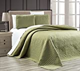 "3-Piece SAGE GREEN Oversize ""Stella Grande"" Bedspread QUEEN / FULL Embossed Coverlet set 106 by 100-Inch"