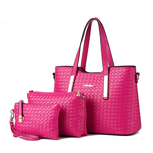 XMLZG Women s Pu Leather Weave Handbag 3 Pieces Tote Bag Set Large Capacity Shoulder  Purse Crossbody 209ee79f5f9b9