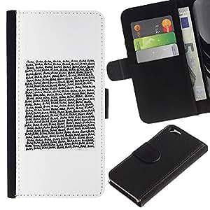 EJOY---La carpeta del tirón la caja de cuero de alta calidad de la PU Caso protector / Apple Iphone 6 / --Texto de lectura Cita blanca minimalista