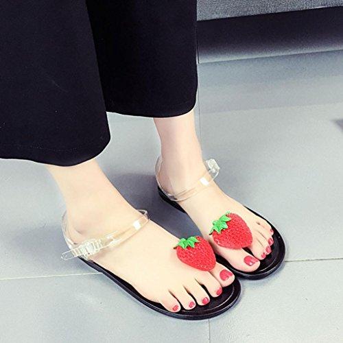 Binmer (tm) Femmes Fruits Tongs Sandales Chaussures Filles Plaque Flip Flop Sandales De Plage Noir
