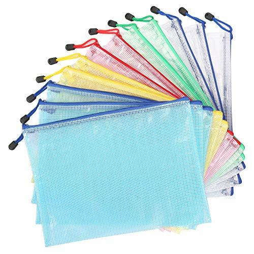 [해외]Kasimir a4 파일 자루 클리어 케이스 지퍼가 달린 메쉬 지퍼 12 매 세트 5 색 지퍼 파일 사무 용품 학생 사무 학교 문구 여행 출장 수납 방수 가능한 반투명 눈금 디자인 / Kasimir a4 File Bag Clear Case Zippered Mesh Fastener12 Pcs 5 Colors Z...