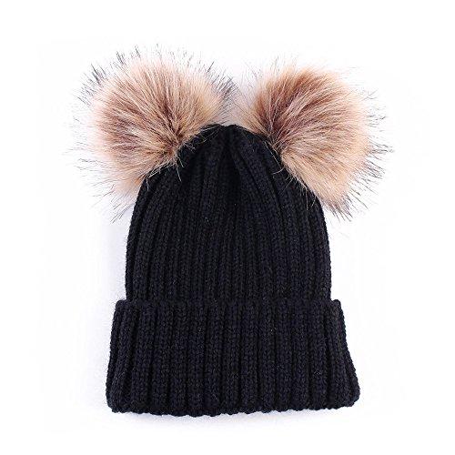 Women Winter Chunky Knit Double Pom Pom Beanie Hats Cozy Warm Slouchy Hat ()