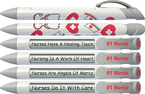 Greeting Pen Rotating Message Nurse Pen - #1 Nurse (Silver Top) 6 Pack (36546) (Pen Rotating Message)