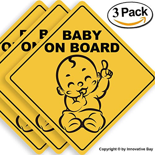 Baby on Board Sticker Sign (3 pack), Baby board, baby car sticker, baby car decal, baby announcement board, US Department of Transportation recommend color & shape,kid safety, 5by5 By Innovative Bay