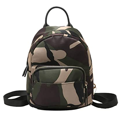 8d5ef9ebb3af Clearance Sale!DEESEE(TM)🍁🍁Camouflage Unisex Leather Backpack Laptop  Retro Travel School Rucksack Bag (Camouflage)