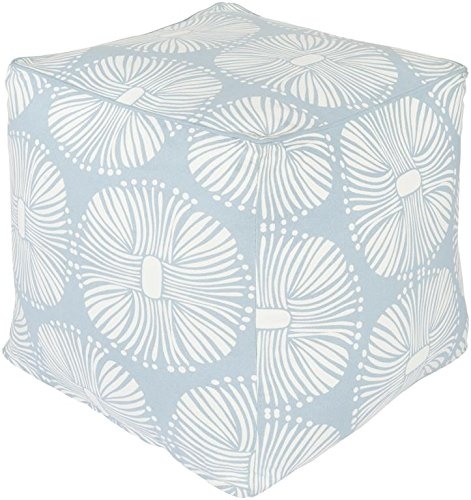 Surya KSPF-007 Kate Spain 100-Percent Cotton Pouf, 18-Inch by 18-Inch by 18-Inch, Sky Blue/Ivory by Surya