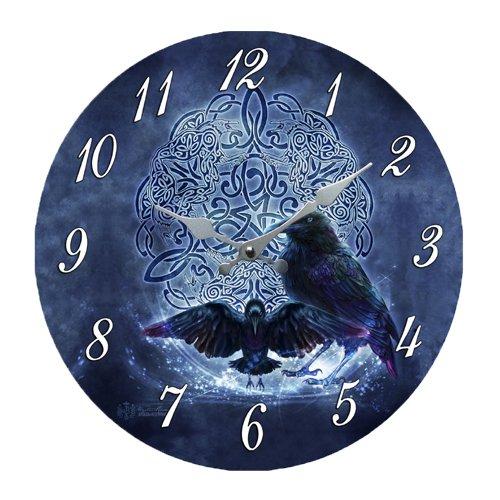 Celtic Raven Crow Darkness Zodiac Wall Clock By Brigid Ashwood Round Plate 13.5