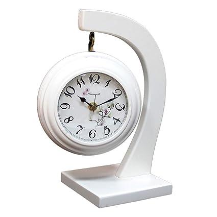 LQUIDE Family Fireplace Clocks Wooden Desk Clock, Quiet Silent Shelf Watch for The Bedroom Living