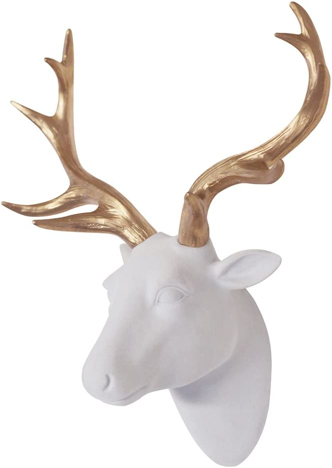 """Smarten Arts Animal Head Wall Decor, White Faux Furry/Felt/Velvety Resin Deer Head with Gold Antlers for Wall Mount Decoration, Size 10"""" x 5.5"""" x 12"""""""