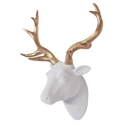 Amazon.com: Animal Head Art Wall Decor Flocking Resin Deer Head With ...