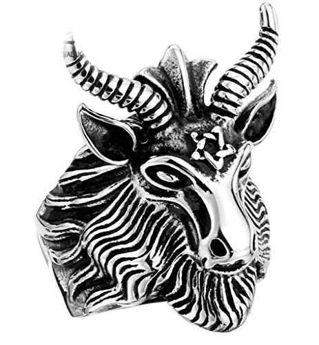 [Aooaz 316L Stainless Steel Mens Ring Bands Goat Head Silver Size 13 Punk Gothic Vintage Novelty] (Tarnished Costume Jewelry Cleaner)