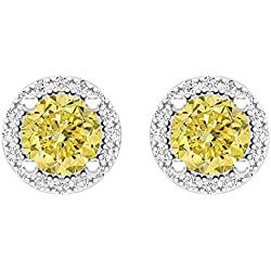 2.00 Carat (ctw) 14k White Gold Round Yellow Sapphire & White Diamond Ladies Halo Stud Earrings 2 CT