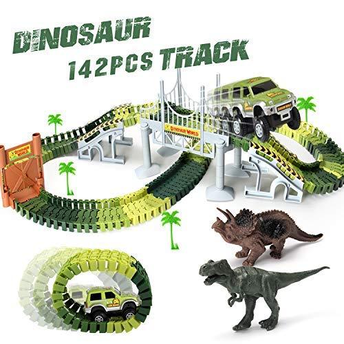 HOMOFY スロットカーレーストラックセット 恐竜玩具 ジュラシックワールド 142ピース 柔軟なトラック付き 恐竜 1台の軍用車 4ツリー 2段 1ドア 吊り下げ橋1個 ブラック 142pcs dinosaur race tracksの商品画像