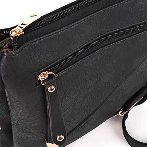Bolso Negro Crossbody Diseño De Las Bolsillo Pu La Manera Simple Cremallera Multi Glitzall Del Mujeres UTqdU