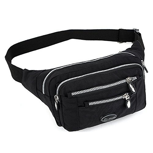 TOP-UP women's Solid Color Fanny Pack,Nylon Waist Bag 5 Zippered Compartments Tour Lumbar Pack Sports Bag (Black)