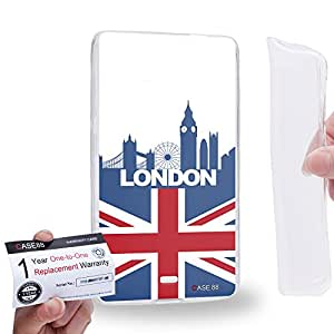 Case88 [Nokia Lumia 535] Gel TPU Carcasa/Funda & Tarjeta de garantía - Art Design Drawing London Flag Skyline Art2628