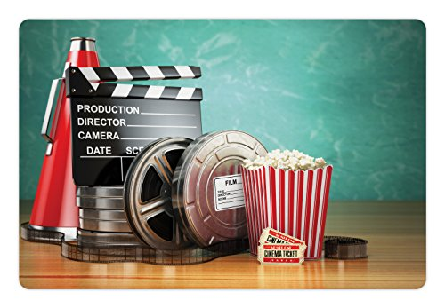 (Ambesonne Movie Theater Pet Mat for Food and Water, Production Theme 3D Film Reels Clapperboard Tickets Popcorn and Megaphone, Rectangle Non-Slip Rubber Mat for Dogs and Cats, Multicolor)