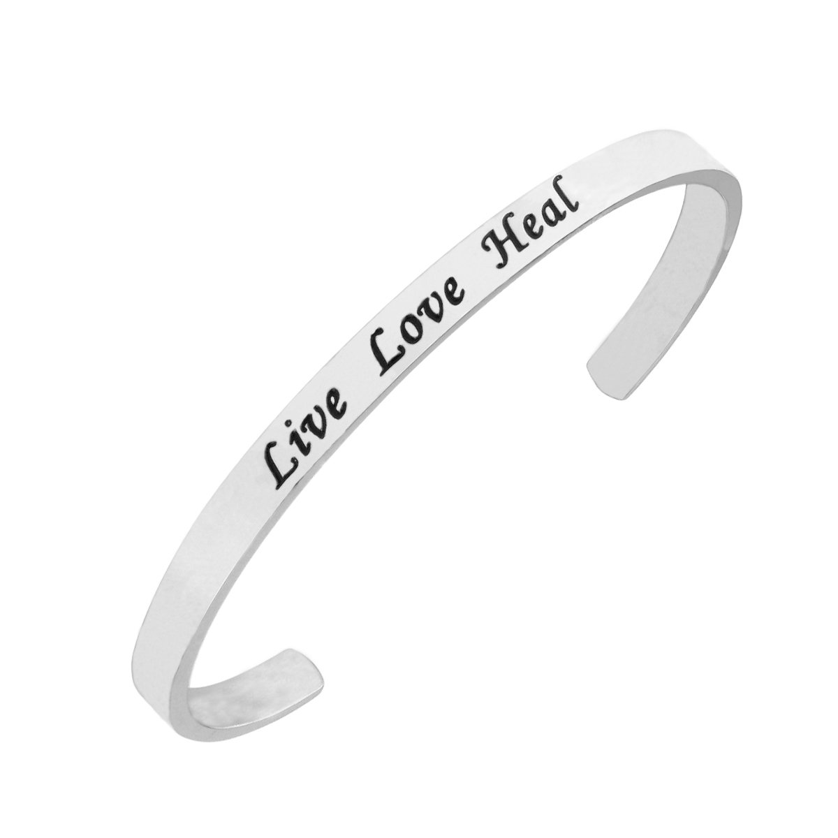 RUNXINTD Nurse Bracelet Live Love Heal Cuff Bracelet Nurse Jewelry for RN,Nursing Graduation Student (Live Love Heal -Silver)