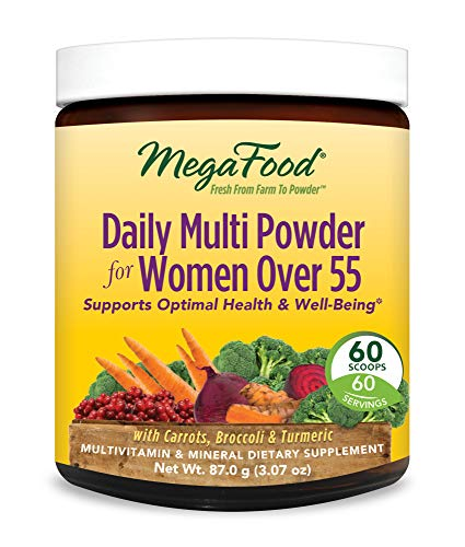 MegaFood, Daily Multi Powder for Women Over 55, All-in-One Whole Food Multivitamin and Dietary Supplement, Vegetarian, Gluten Free, Non-GMO, 60 Servings (3.07 oz)