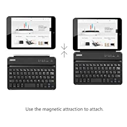 Anker Ultra-Slim Bluetooth Wireless Aluminum Keyboard & Cover (2 in 1) for iPad mini 3 / mini 2 / iPad mini