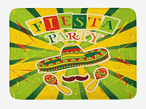 Weeosazg Fiesta Bath Mat, Sprites with Sombrero Maracas Mustache Mexican Hand Drawn Illustration, Plush Bathroom Decor Mat with Non Slip Backing, 31.5 X 19.7 Inches, Green Yellow Vermilion]()