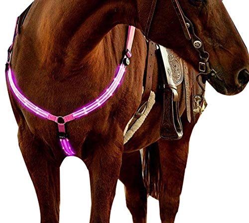 NEFTF LED Horse Breastplate Collar Bridle Halter High Visibility Tack for Night Horse Riding(Pink) ()