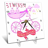 3dRose RinaPiro - Kids - Twins. Girls. Baby shower. Announcement. Cute picture. - 6x6 Desk Clock (dc_261340_1)
