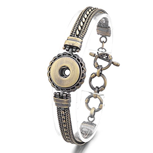 Vocheng 18mm Snap Button Jewelry Antique Chain Interchangeable Bracelet,Women Gift, ANN-450 ()