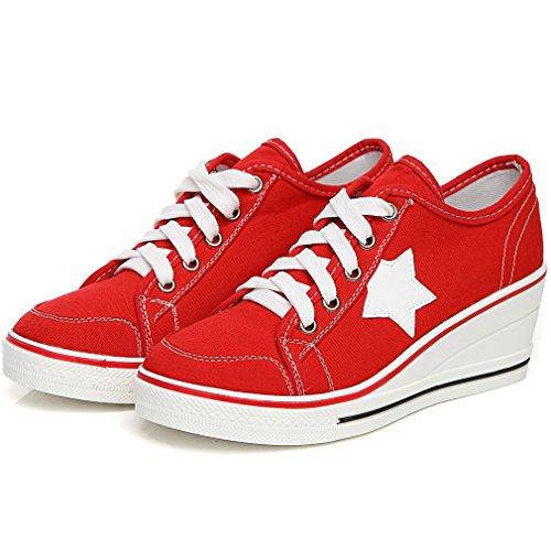 43 Top Low Sneaker Sportschuhe Solshine 35 Sportlich Canvas Rot Größe Schnürer Wedges Damen Keilabsatz nqZIaZ7