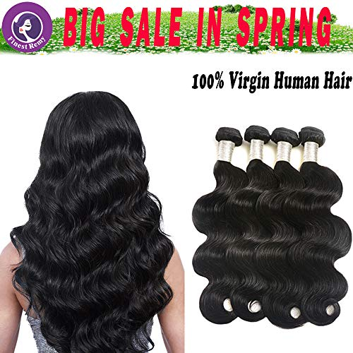 Finest Remy Big Sales 7A Brazilian Virgin Body Wave Human Hair 4 Bundles 100% Unprocessed Double Weft Extensions Total 280g (18/18/20/20 Inch, Natural Black)