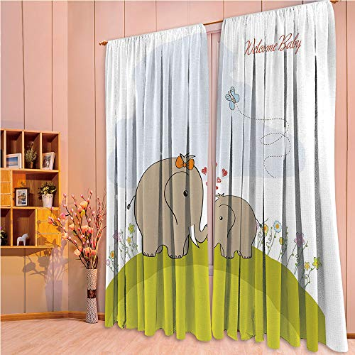 ZHICASSIESOPHIER Finel Kids Curtains for Living Room Bedroom Window Curtains Baby Room Lovely Children Curtains Drapes,with Mother Baby Elephant Love Children Decorative 84Wx63L Inch
