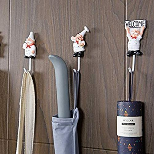 Estilo Surtido CUHAWUDBA Paquete de 4 Ganchos de Pared de Estatuilla de Chef Franc/és de Resina Percha Gancho de Estante Montaje de Pared de Cocinero Decorativo