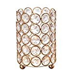 Feyarl Crystal Beads Candle Holder Votive Cylinder Candle Lantern Makeup Brush Holder with 5 Layers Beads for Wedding Home Christmas Deco Gift with LED Candle (Gold)