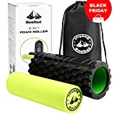 REEHUT Foam Roller Trigger Point Massage for Painful, Tight Muscles + Smooth Rollers for Rehabilitation! Free User E-Book + Free Carry CASE!