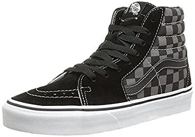 Vans Men's Sk8-Hi Skate Shoe (35 M EU / 5.5 B(M) US Women / 4 D(M) US Men, Black/Pewter Checkerboard Canvas)