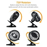 """Small Portable Battery Operated Fan,ESCNE 5"""" Mini Clip on Stroller Fan Powered by Rechargeable Battery or USB for Baby Stroller Desk Car Gym Workout Camping,Black"""