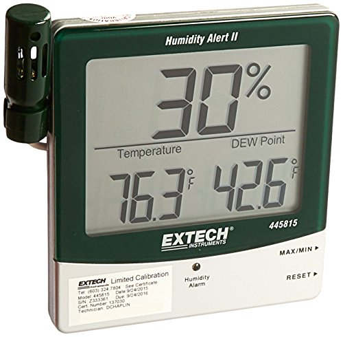 Extech Instruments 445815-NISTL Hygro-Thermometer Humidity Alert with Dew Point with NISTL