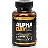 Alpha Day: Brain Support and Nootropic Dietary Supplement for Sustained Energy, Focus, Cognitive Support, Alertness and Mental Clarity in Adults (60 Capsules/Pills) (30 Day Supply)