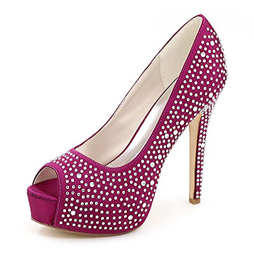 L@YC Tacones altos De Las Mujeres Primavera Verano OtoñO Invierno Platform Club Zapatos 3128-14 Y Zapatos De Boda Purple