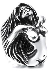 Men's Large Heavy Stainless Steel Ring Silver Tone Black Angel Goddess