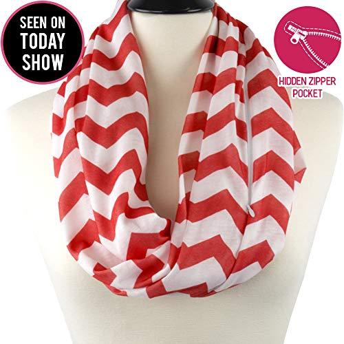 Womens Chevron Print Pattern Infinity Scarf Wrap with Zipper Pocket, Red and White, Best Travel Infinity Scarves for Women, Girls, Ladies