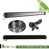 SUFE 42 INCH 400W Dual Row LED Light Bar Osram 4D SAE / ECE Beam Work Lights For Offroad Truck Tractor SUV ATV 4X4 30000LM IP68 Free Wire Harness