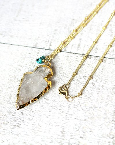 14k Gold Plated Handmade Necklace with Natural Clear Quartz Arrowhead and Turquoise Pendant - 20