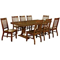 HOMES: Inside + Out ioHOMES Castile 9 Piece Transitional Dining Set, Dark Oak
