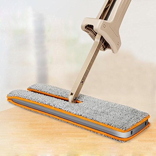 Quartly Useful Double-Side Telescoping Handle Flat Mop hands with 2 Pc Mop Cloth - Free Washable Mop Home Cleaning Tool (Side Laminate)