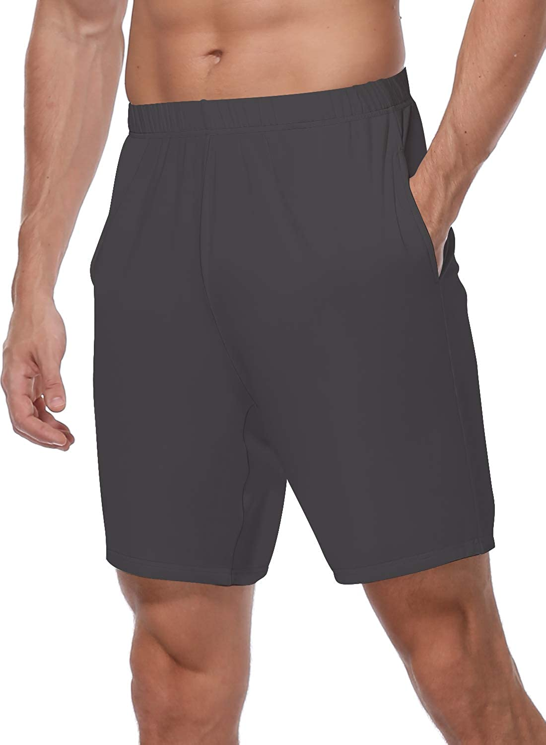 HISKYWIN Mens 7 Inch Modal Supreme Soft Knit Casual Shorts with Pocket Elastic Waist Loungewear Relaxed Sleep Lounge Shorts